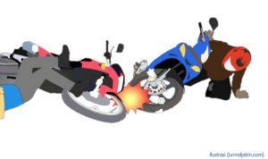 Ilustrasi dua motor bertabrakan