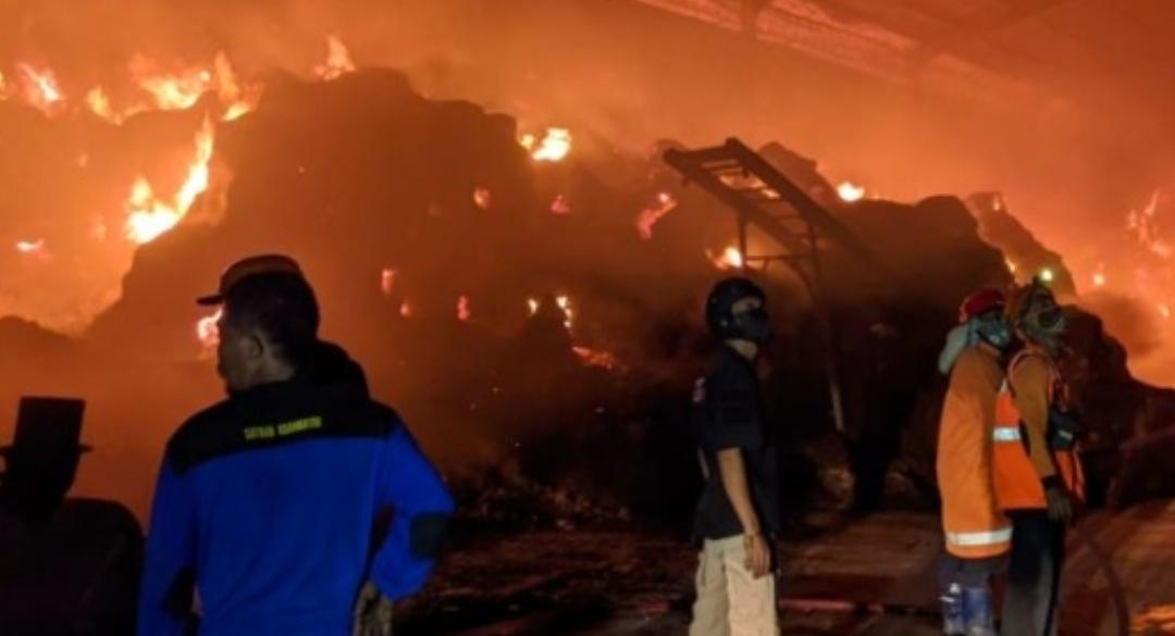 Gudang Pengolahan Obat Nyamuk di Pungging Mojokerto Terbakar